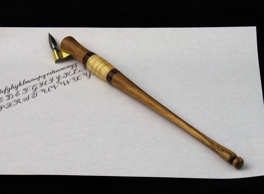 Hand Turned Oblique Pen Holder Handmade Calligraphy Nib
