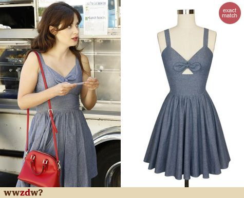 3f960027e3c Zooey Deschanel s chambray cutout dress on New Girl. Outfit Details  http