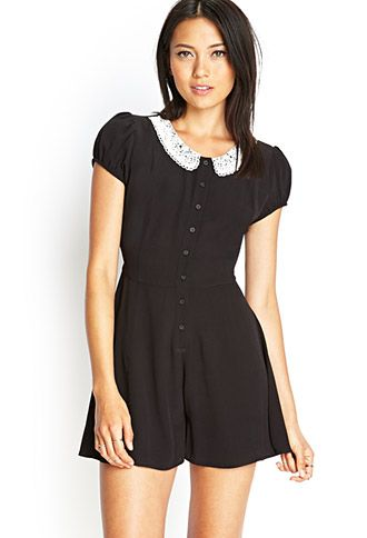 e0d07267f1e5 Lace Collar Button-Front Romper