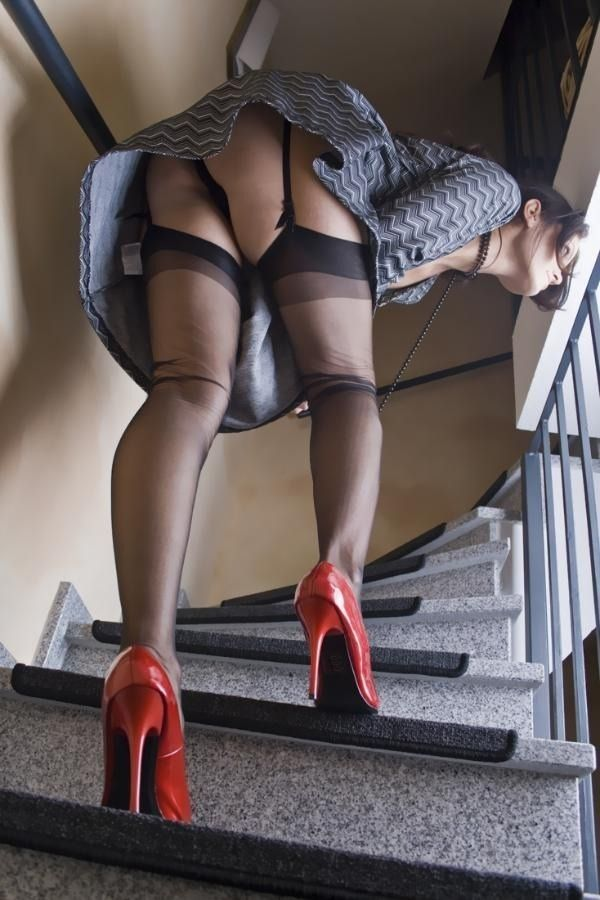 Black high heels and stockings fucking