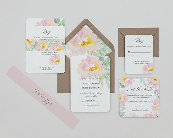 Blush Fl Wedding Invitation Template Rustic Digital Pa