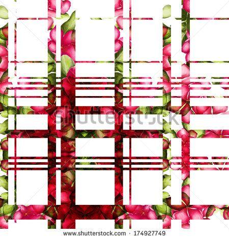 Floral tartan - stock photo