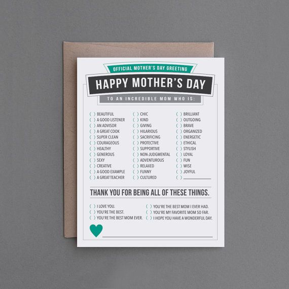 Happy Mother's Day Card. For Mom Mother. Sweet by FlytrapOnE