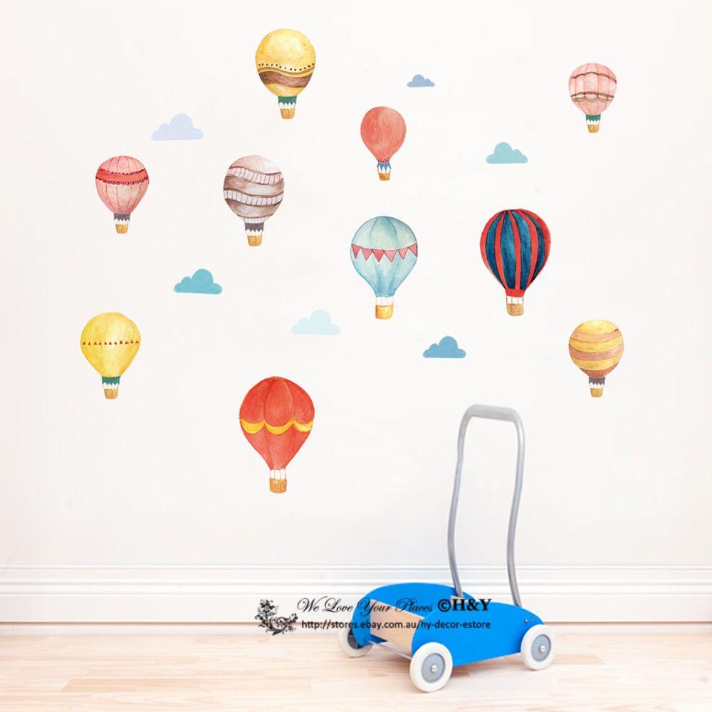 Wall Stickers balloon hot air balloon cloud flags PVC decal decor Nursery kids