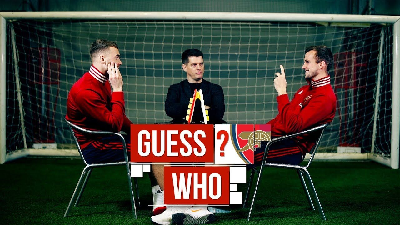 Calum Chambers and Rob Holding play Guess Who? Board Game