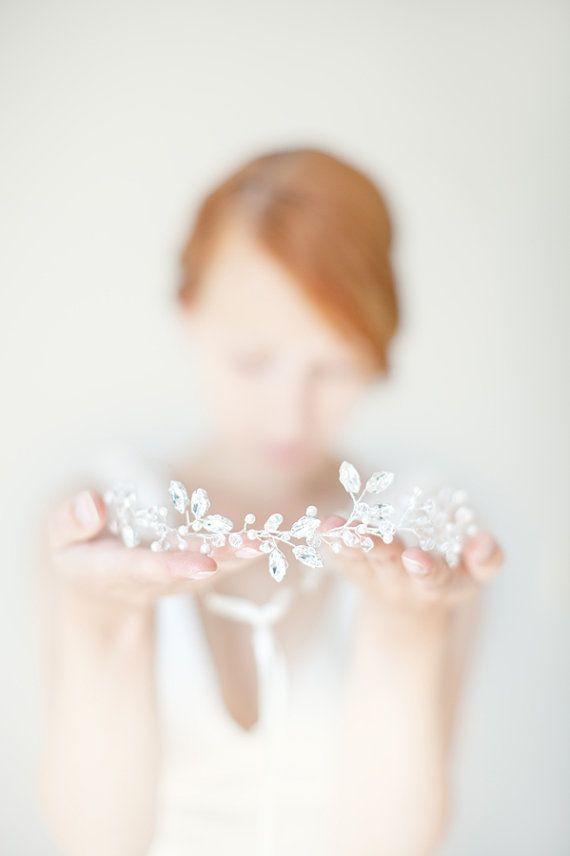 Crystal Hair Vine Wedding Headband, Crystal Bridal Crown, Pearl Hair Vine Bridal Headband, Crystal Pearl Bridal Headpiece - Breathless