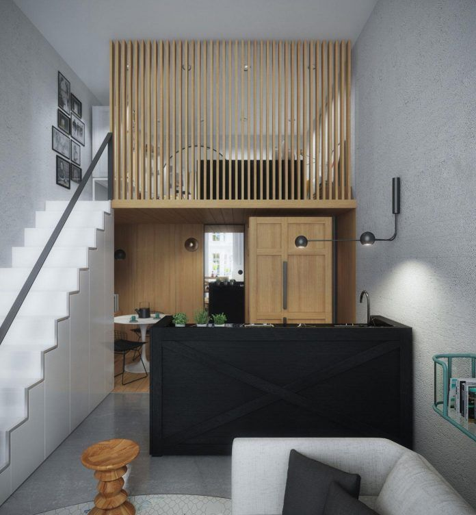 Modern Mezzanine: Small-33-square-metre-home-designed-young-couple-recently