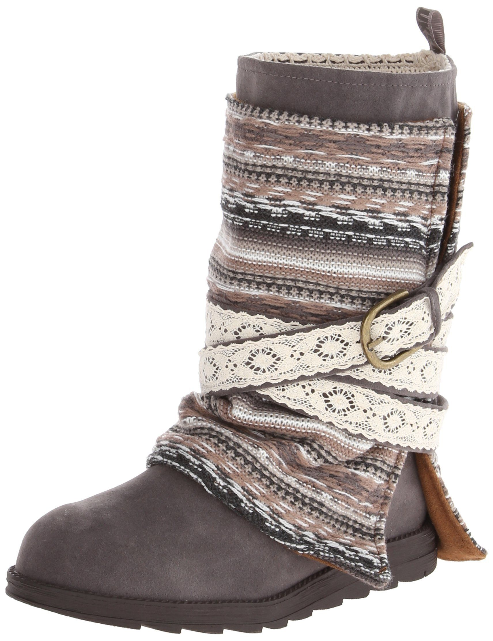 Muk Luks Women's Nikki Belt Wrapped Boot Grey 8 B(M) US