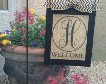 Custom, Personalized,monogrammed Burlap Welcome Garden Flag With Chevron Bow