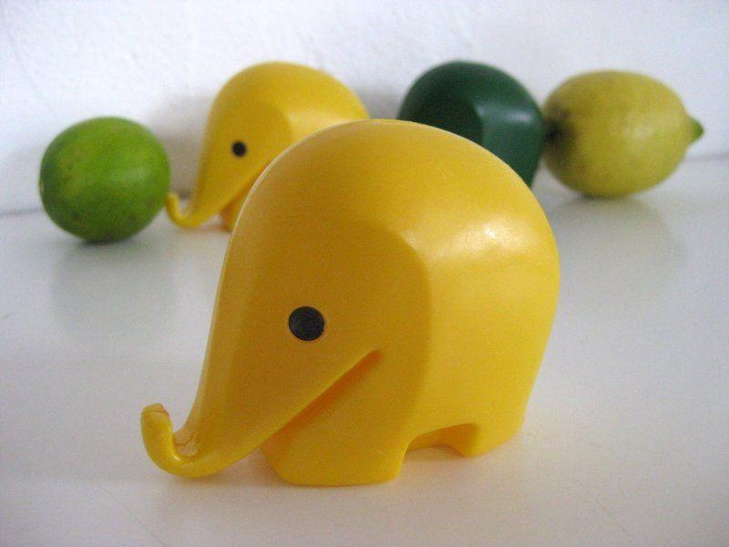 Vintage Spardose Elefant gelb von das fleissige Faultierchen auf DaWanda.com