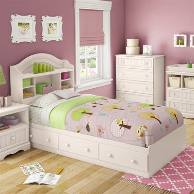 South Shore Furniture Savannah Mates Bed with Bookcase Headboard