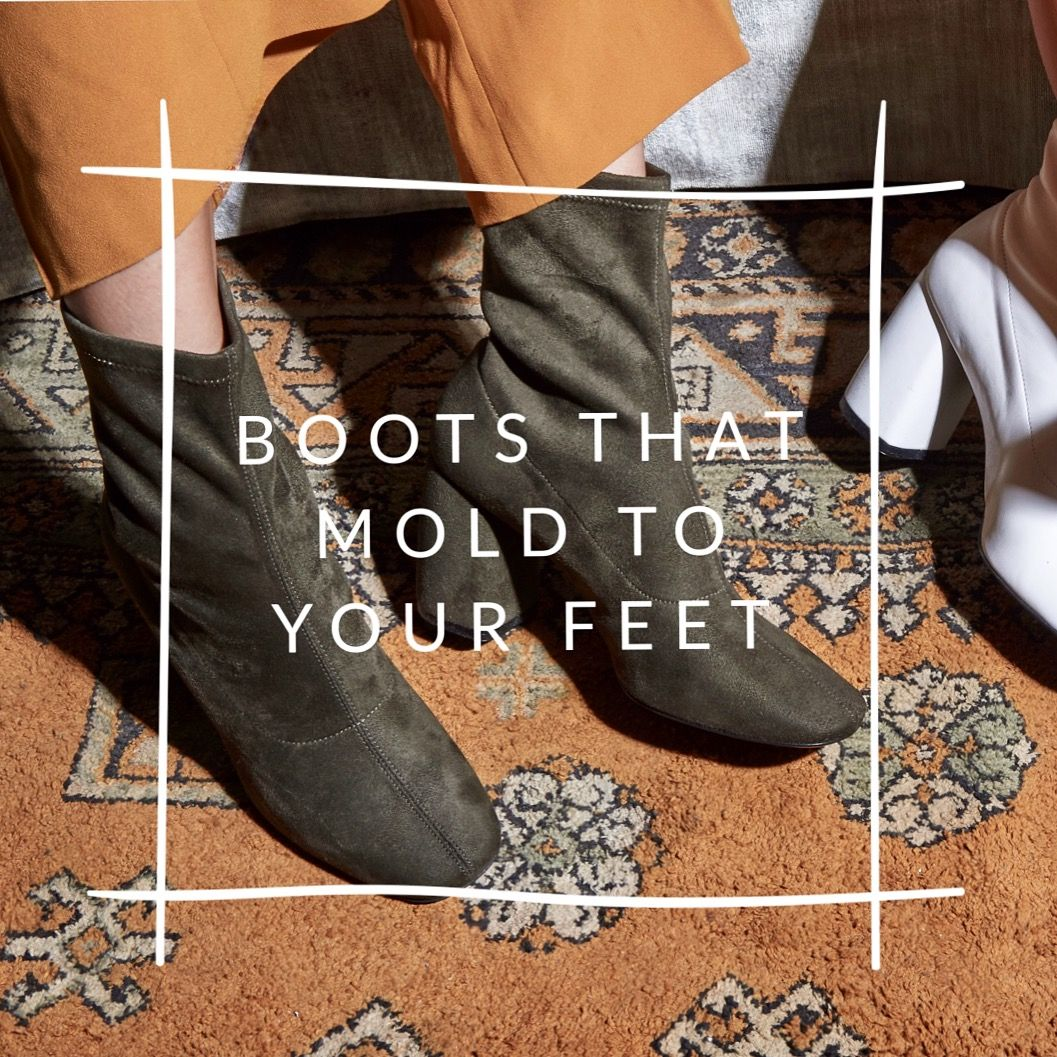 412d2a63c7 Olive green suede stretch boots that are designed to mold to your feet.