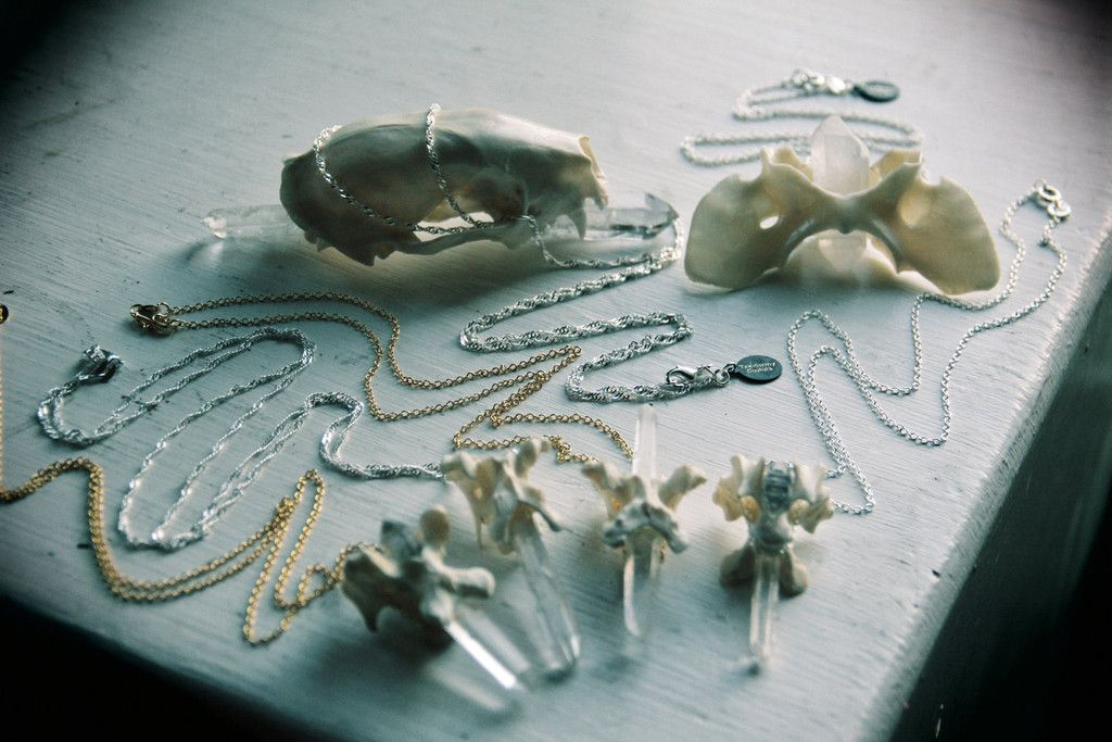 TAXIDERMY COUTURE Coyote Vertebrae Natural Crystal Point Sterling Silver necklace