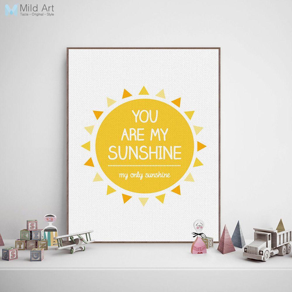 Modern Minimalist Yellow Sunshine Typography Love Quotes A4 Art ...