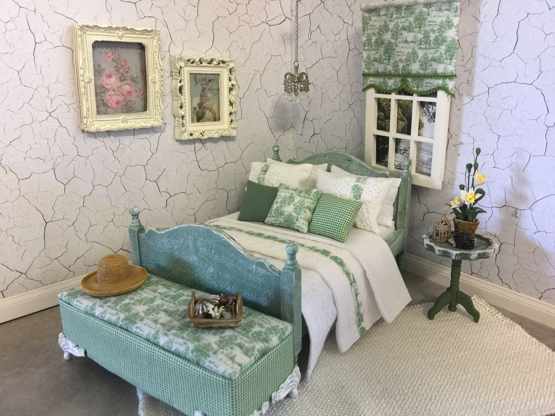 "3 /"" W Blue Toile Dollhouse Single Size Curtains"