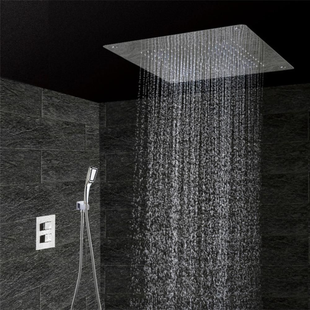 Concealed Thermostatic Shower Set Chrome Bathroom Mixer Faucet