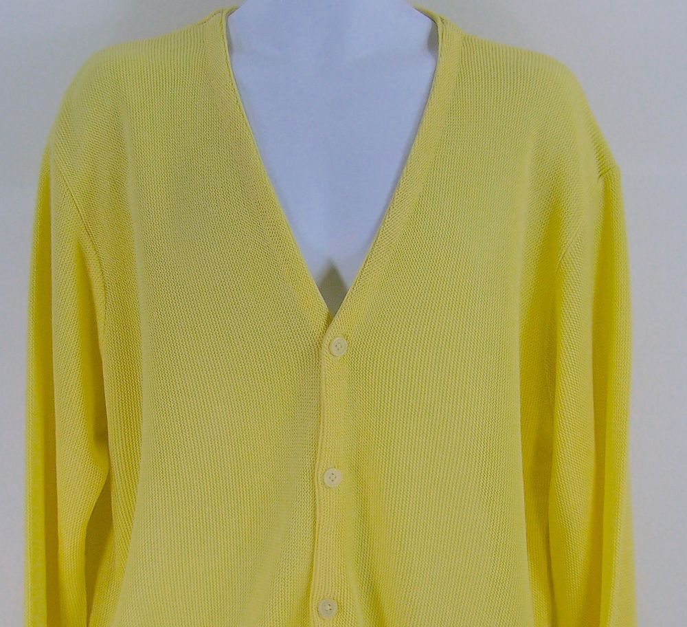 Mens Dockers Golf Long Sleeve Butter Yellow Cardigan Button Down ...