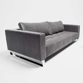 Grey Leather Sofa Chrome Legs And Stiching Living Room In