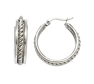 Stainless Steel Twisted Middle Hoop Earrings Products Pinterest