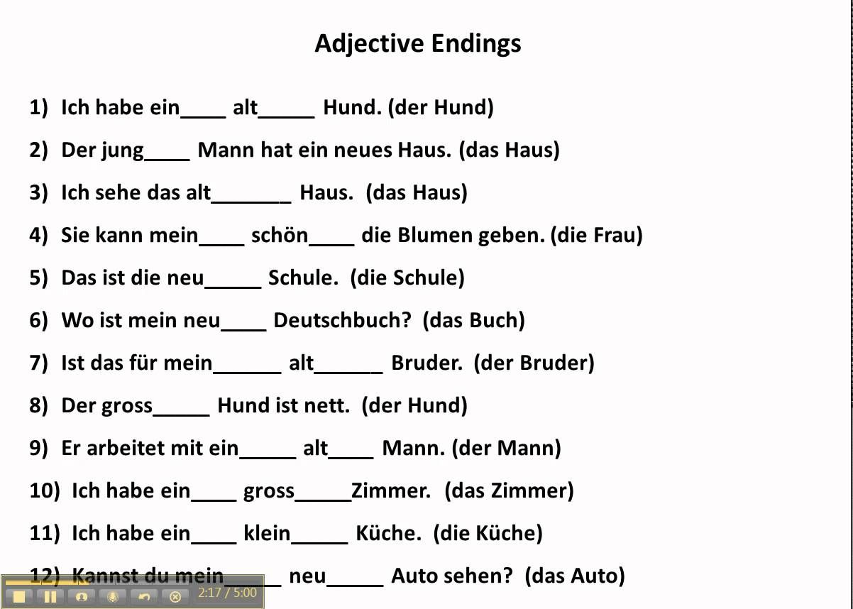 Worksheets German Grammar Worksheets practice with adjective endings in german www germanforspalding org