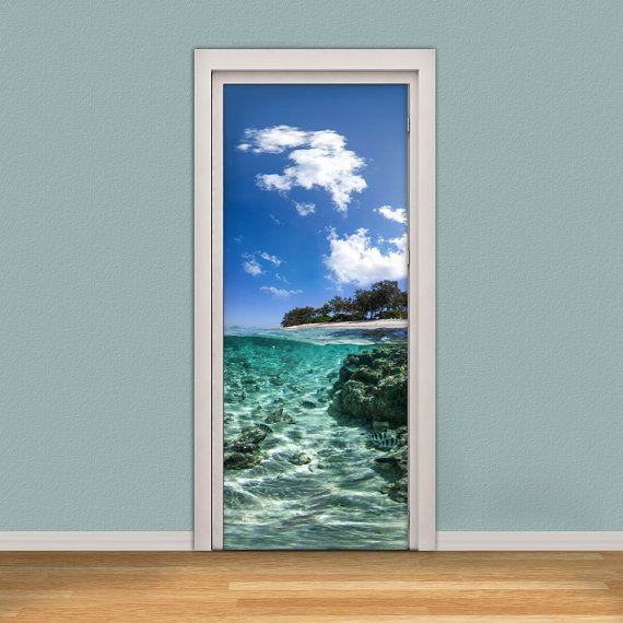 Door decal self adhesive vinyl wallpaper underwater tropical sea and island view door wrap