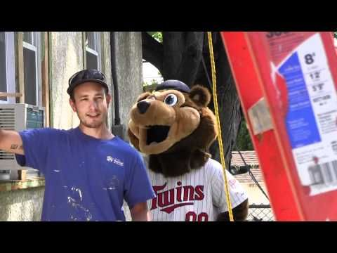 Mn Twins Mascot Tc Helps With Painting Instructions For Twin Cities Habitat Twin Cities Funny Short Videos Habitats