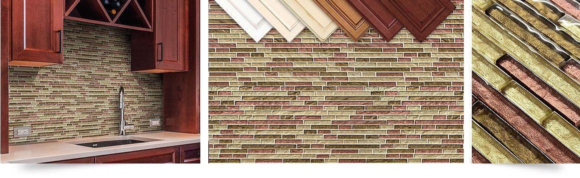 Fantastisch Burgundy Brown Gold Color Kitchen Backsplash Tile From Backsplash.com