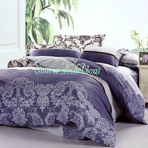 4 Piece Luxurious Vine Collection Purple Gray Cotton Dorm