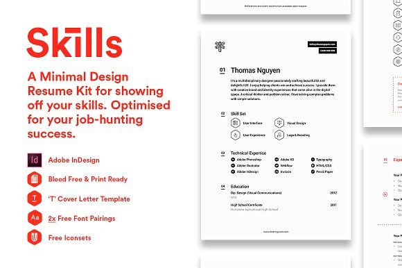 Skills - A Minimal Design Resume Kit by thomrta on @creativemarket - resume skills