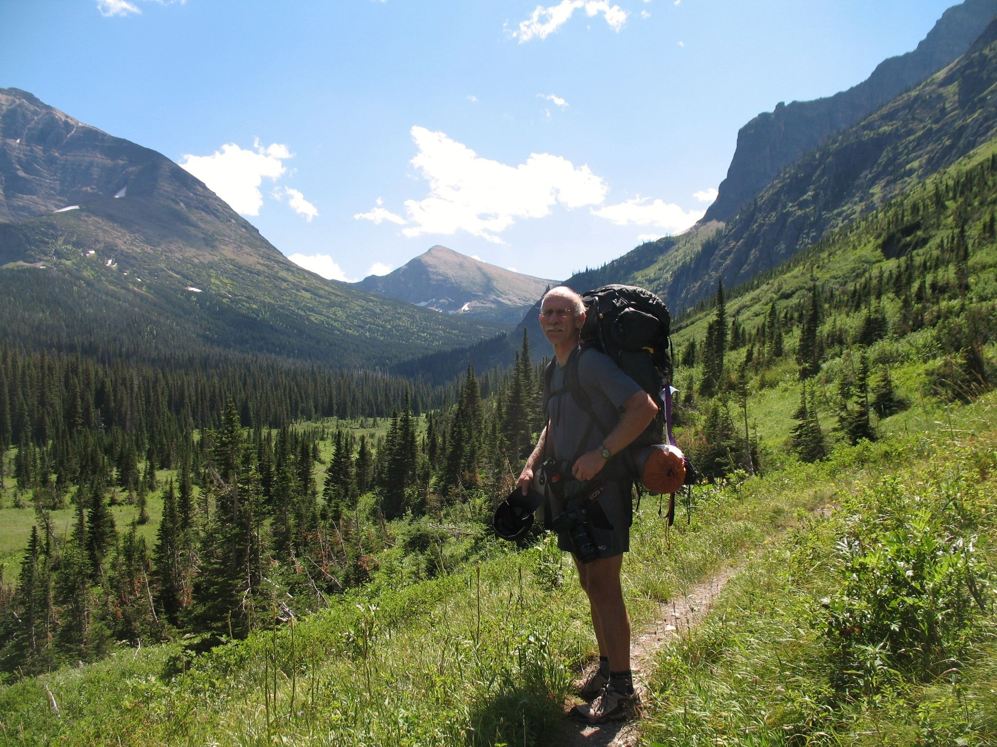 Dave hiking into Morningstar Lake for an overnighter. Glacier National Park, Montana, July 2012.