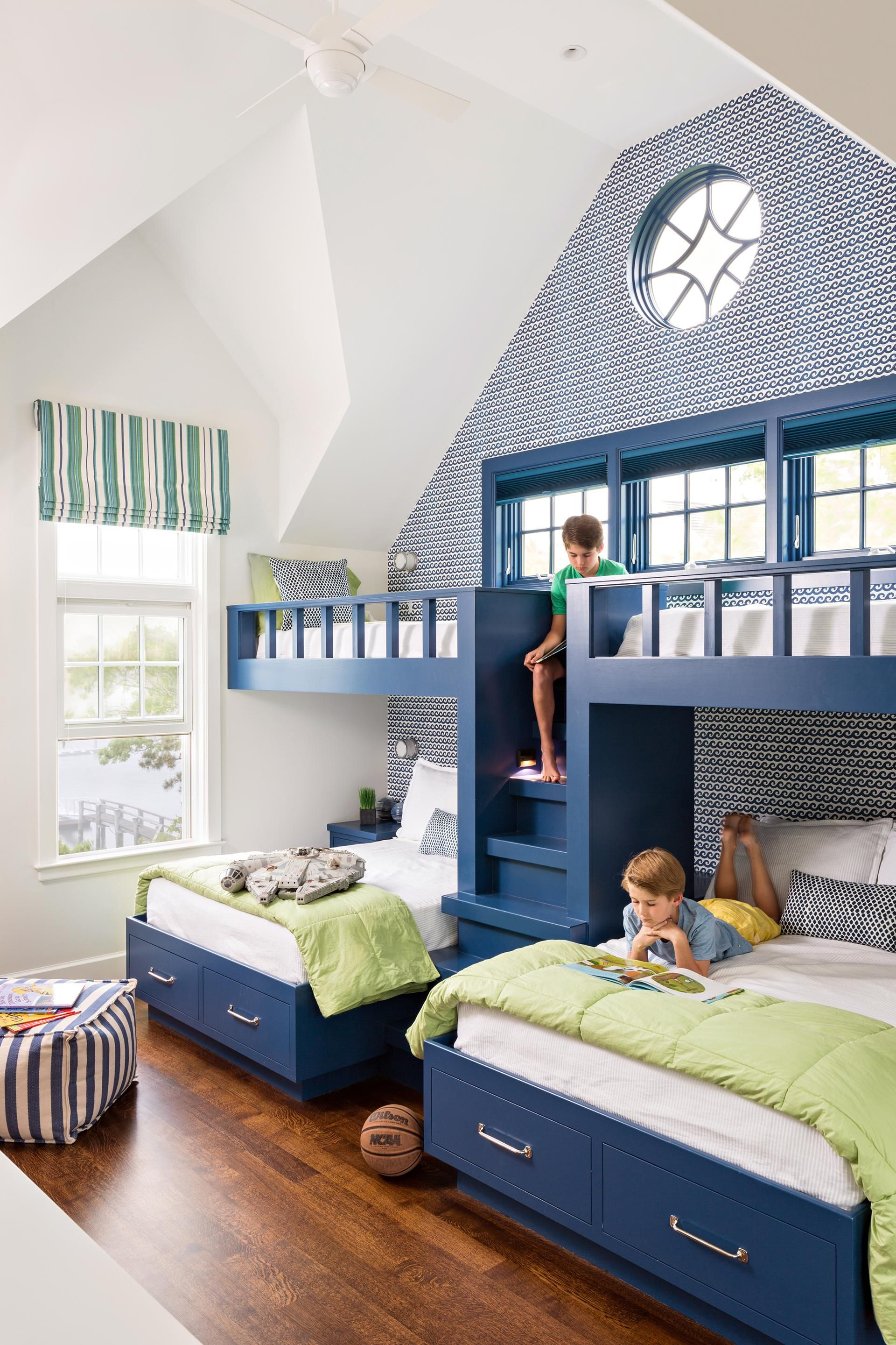 Bed with a desk wardrobe versatile children go bed under table - A Cape Cod Home Channels West Coast Style