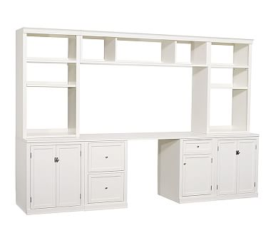 Logan Medium Office Set 1 Desk Large Bridge 2 24 Bases With Doors Hutches Open Shelves Antique White