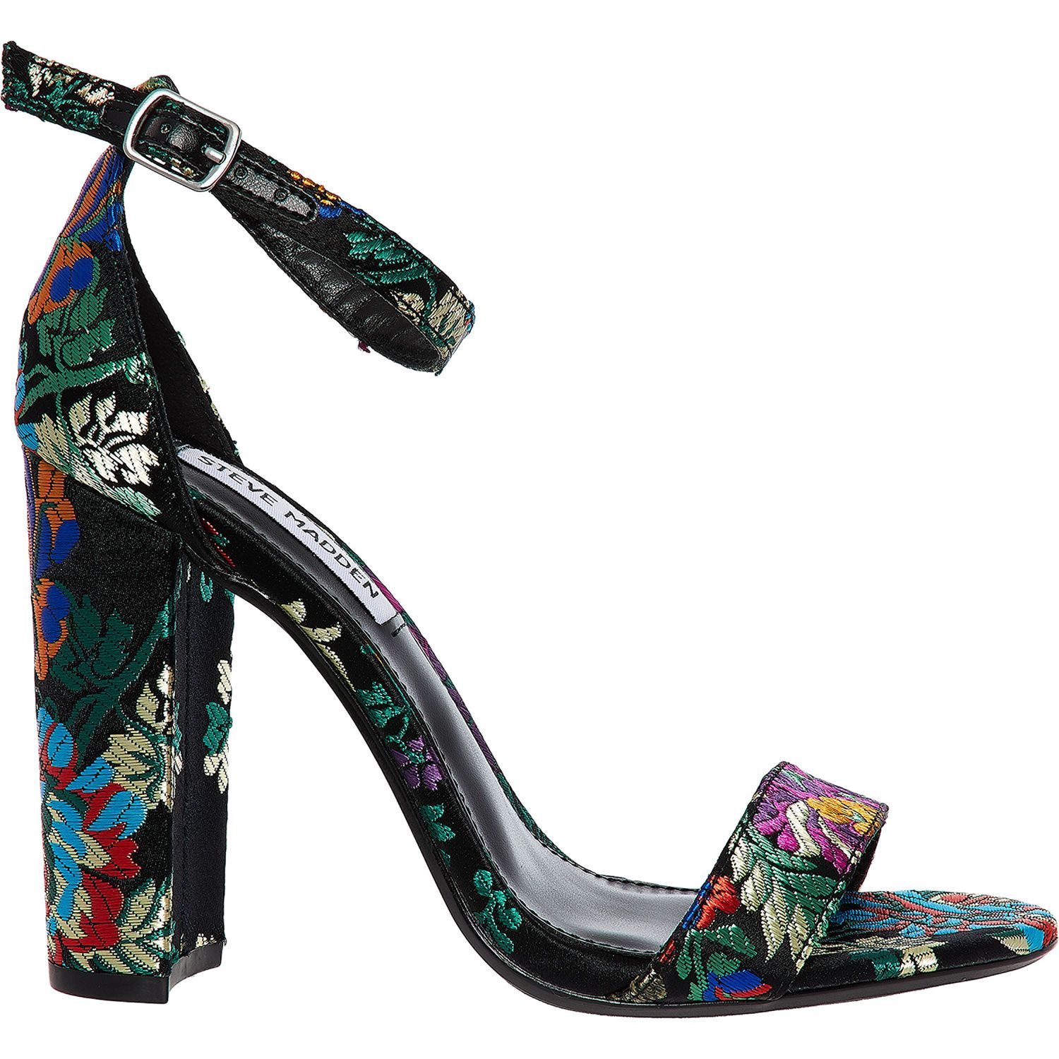 Black Floral Embroidered Carrson Heels