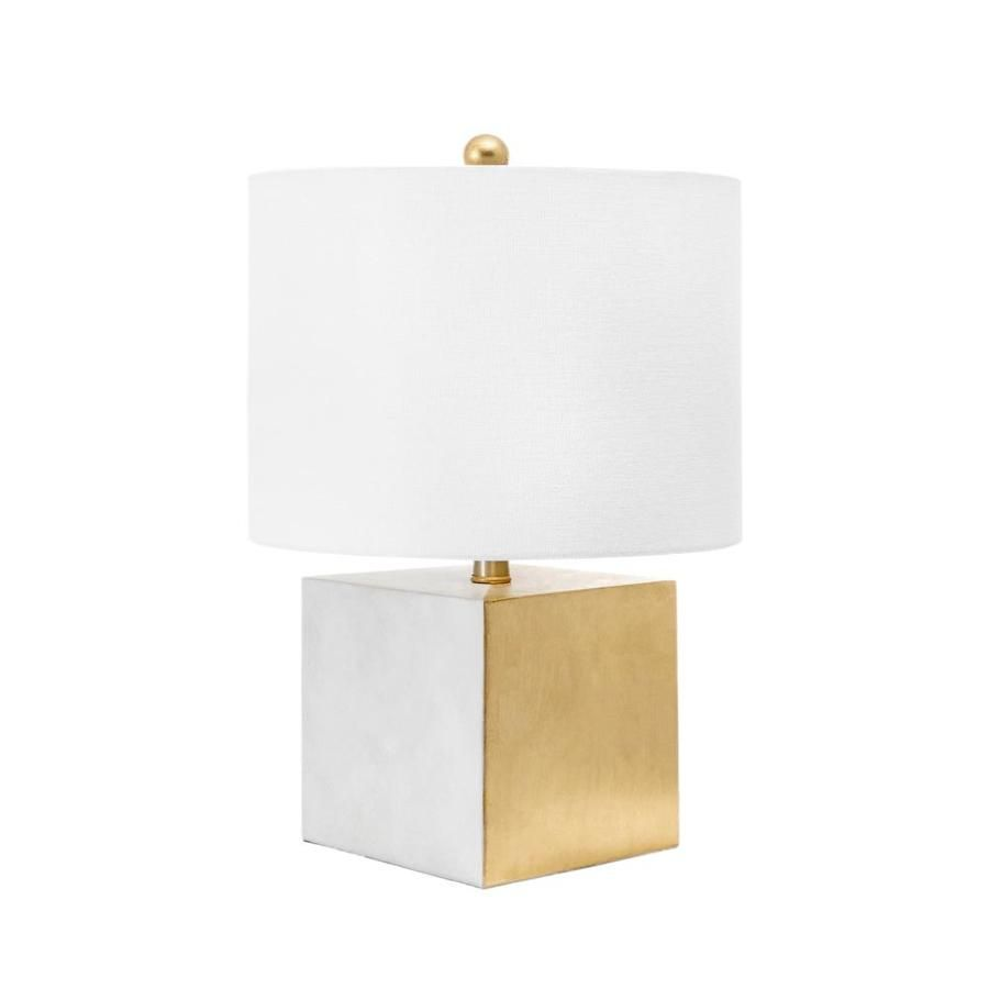 Nuloom White And Brass Table Lamp With Fabric Shade Lowes Com In 2021 Cube Table Lamp Modern Table Lamp Contemporary Black Table Lamp