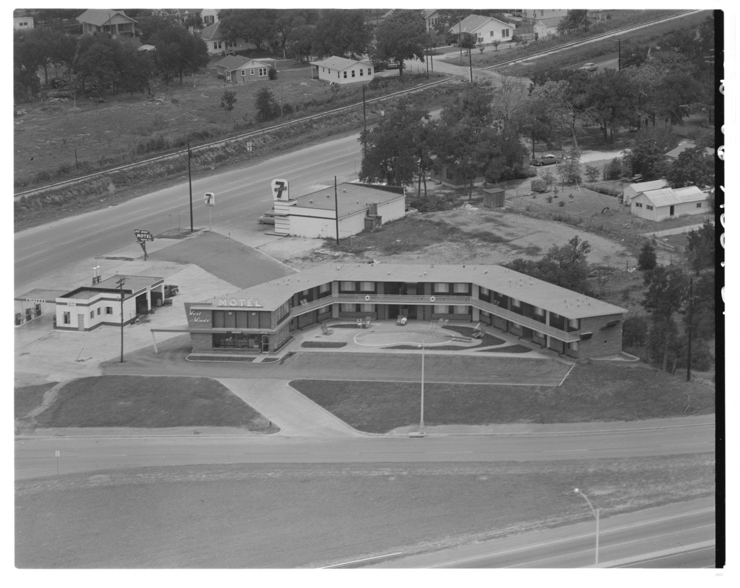 1956 Austin Texas Showing Westwind Motel Along Ih35 Frontage Road At Airport Blvd Aerial View Aerial Photograph Aerial