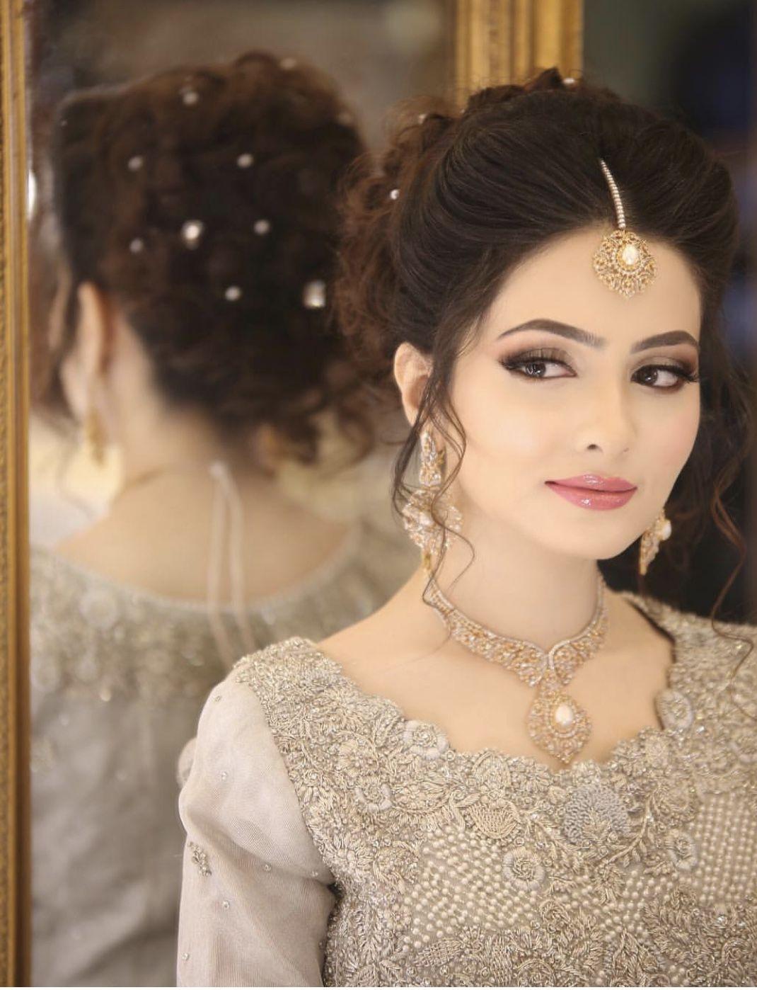 Updo For Ceremony Bridal Hairstyle Indian Wedding Pakistani Bridal Makeup Bridal Hair Updo