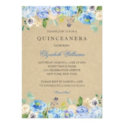 Rustic Vintage Blue Floral Quinceanera Invitation rustic style