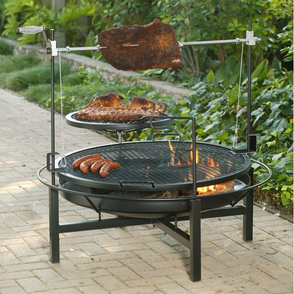 Round rock fire pit charcoal grill 48 for Outdoor kitchen barbecue grills
