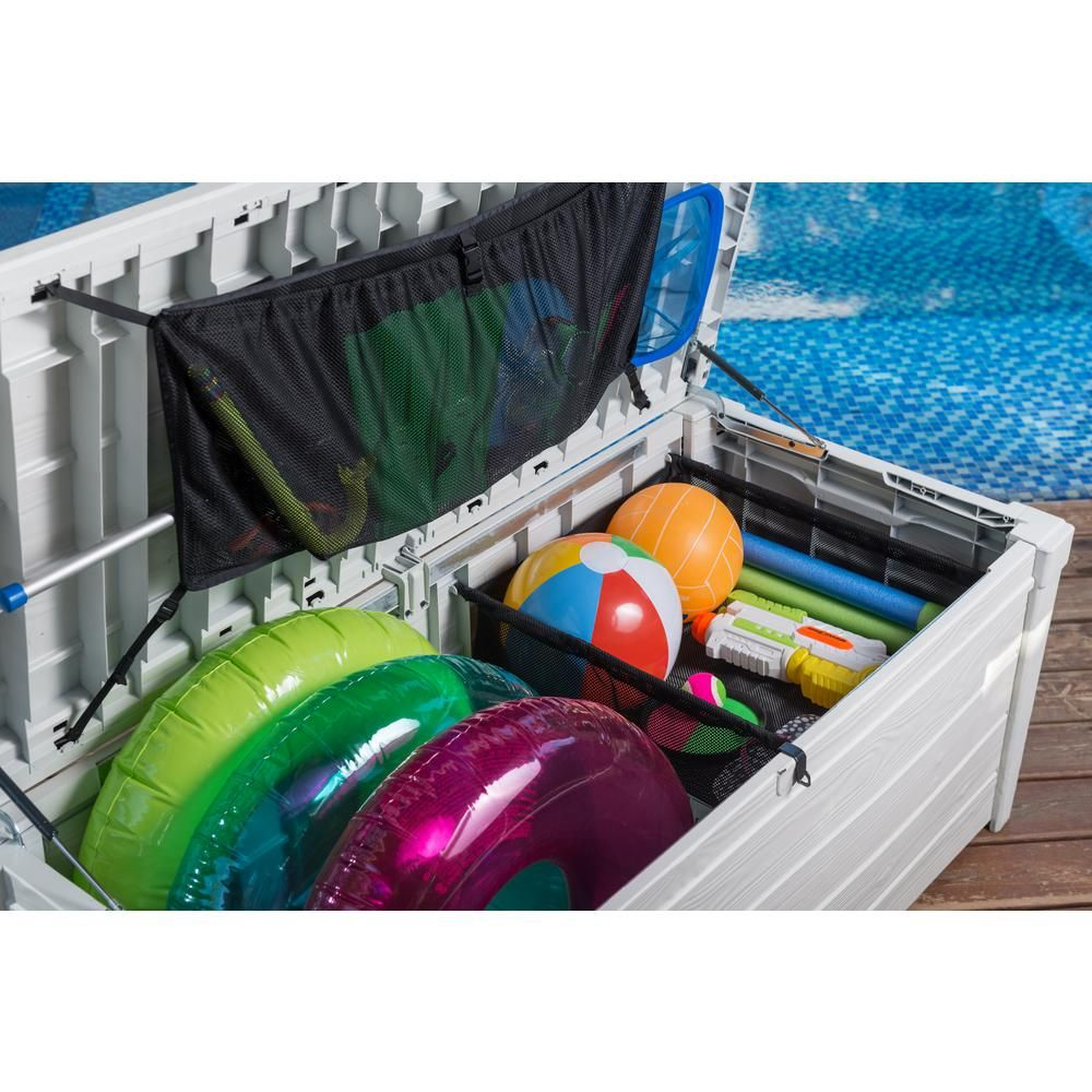 Keter 120 Gal Pool Storage Deck Box 236781 The Home Depot Pool Toy Storage Pool Storage Pool Float Storage