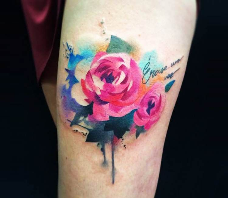 watercolor rose tattoo by pablo ortiz best tattoos pinterest watercolor rose tattoos. Black Bedroom Furniture Sets. Home Design Ideas
