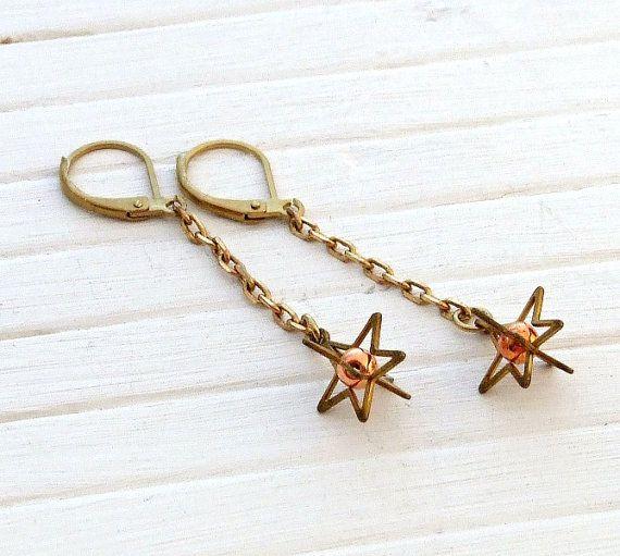 Star Earrings .. brass star earrings chain by beadishdelight