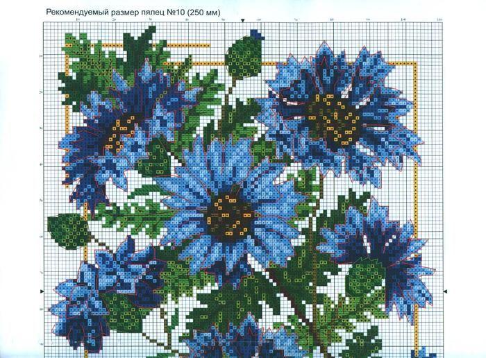 Вышивка крестом цветы васильки