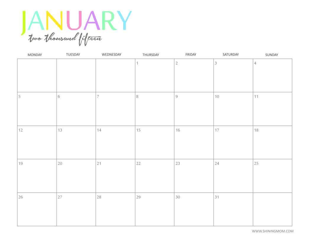 Free Printable Calendar By Shiningmom Fun And Colorful Printables