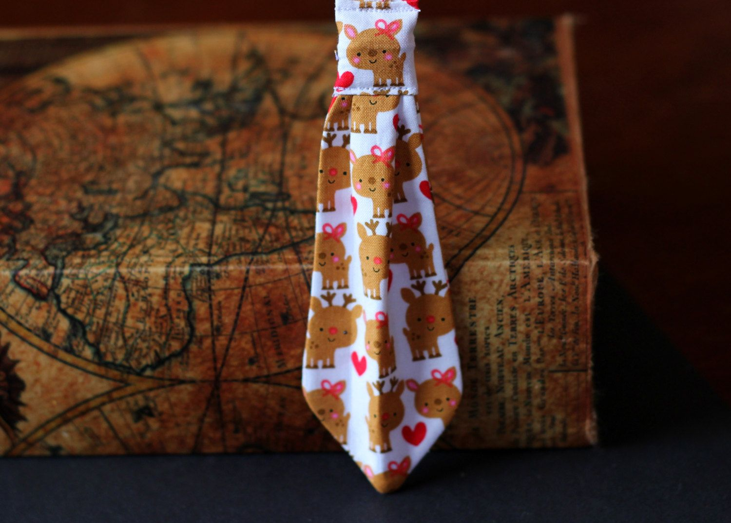 Christmas dog necktie with adorable reindeer by PuppyPawzBoutique on Etsy