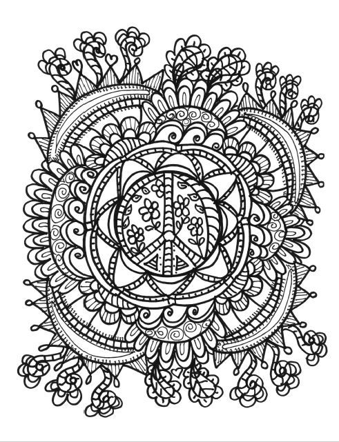 Hippie Folk Art Free Coloring Page