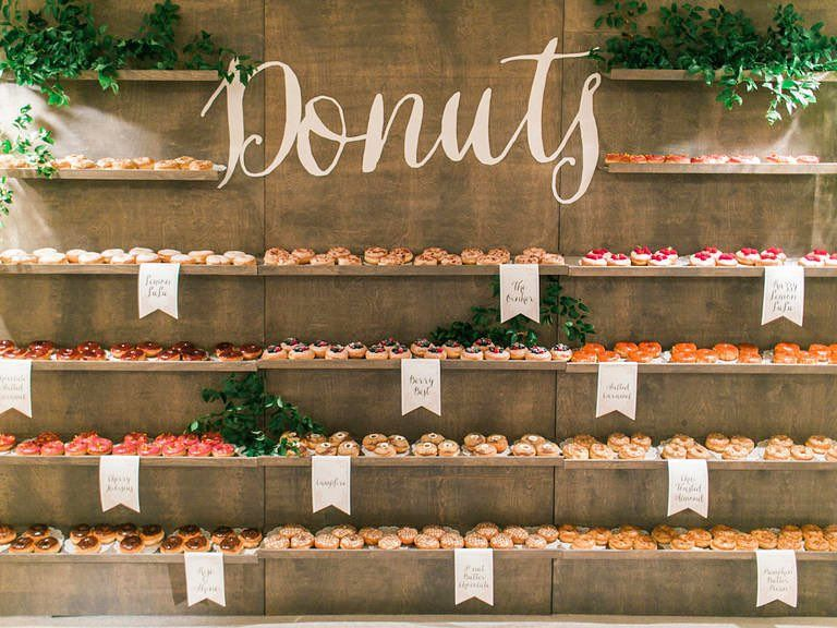The Knot On Instagram A Donut On Its Own Is A Delicious But A Whole Donut Wall Epic Happy National Wedding Donuts Donut Display Unique Wedding Receptions