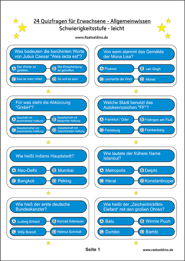 Quiz Spiele Für Erwachsene Online