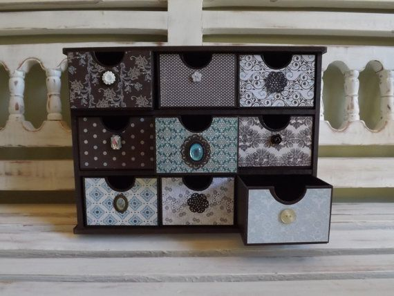 Vintage Inspired Brown Jewelry Box Organizer Home Office
