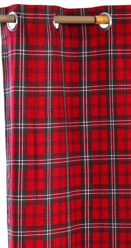 Red Blue Tartan Check Heavyweight Cotton Eyelet Ring Top Curtains Stripe Pair