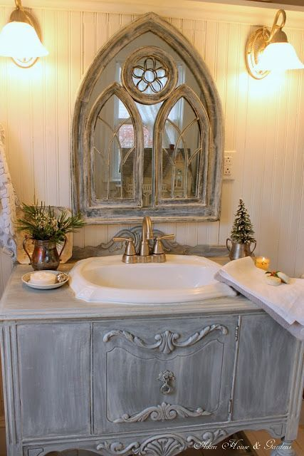 incredible black gothic bathroom ideas   Gothic mirror on a beadboard wall - looks incredible ...